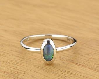 0.31ct Semi-Black Opal Ring in 925 Sterling Silver Size 7 SKU: 1979S043