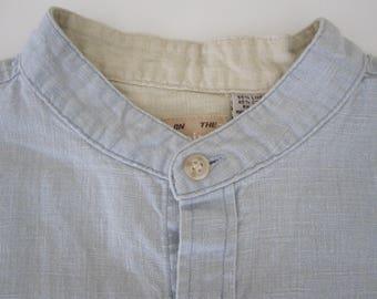 Vintage Collarless Denim Chambray Linen Cotton Blend Long Sleeve Shirt Size XL