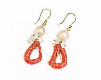 Coral, Freshwater Pearl and Moonstone Earrings