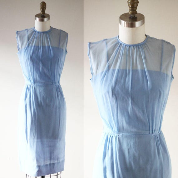 1960s sheer blue wiggle dress // 1960s blue wiggle dress // vintage dress