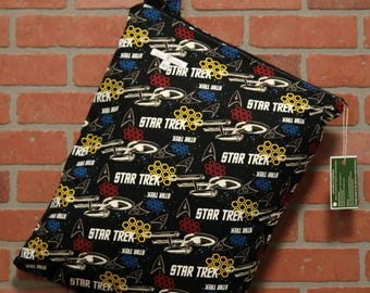 Cloth Diaper Wetbag, Star Trek, Diaper Pail Liner, Diaper Bag, Day Care Size, Holds 12 Diapers, Size Large with Handle  #L98