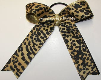 Leopard Cheer Bow, Leopard Ponytail Holder, Black Gold Metallic Cheetah Ribbon Elastic Ties, Cheerleader Football, Volleyball Softball Bulk