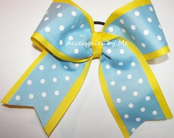 Bulk Cheer Bow, Blue Yellow Dance Clip, 7 Inch Cheer Bows, Blue Yellow Cheerleader Bow, Volleyball Softball Soccer Bow, Bulk Blue Yellow Bow