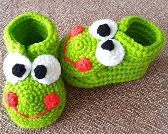 Handmade crochet baby booties Frog.