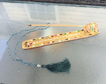 Emerald green tassle necklace by ashley3535
