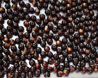 100 round 6mm Brown cat's eye effect resin beads