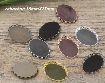 50 pendant cabochon supports 18mmX25mm oval brass silver