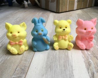 Vintage Rubber Blue Rabbit, Pink Cat, Yellow Bear and Yellow Cat Baby Toys