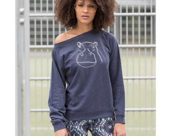 Women sweatshirt, casual hippo sweat, ladies jumper, blurry hippopotamus top, graphic sweater