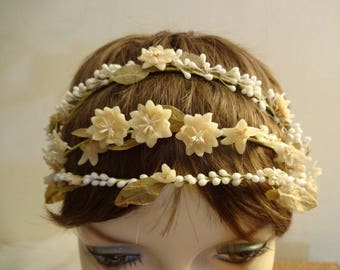 Vintage 1920's Wax Flower Wedding Headpiece - Flapper 3 Strand Wax Flower Wedding Headband - Bohemian Wax Blossom Crown - Jazz Age Wedding