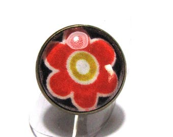 Orange ring cabochon flower - liberty meadow pep