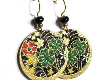 Earrings large sequins decorated with paper brass Japanese flowers