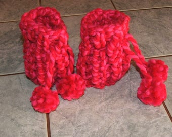 Pair of Leggings or leg warmers baby Heather red/pink - 3/6 months - acrylic - handmade