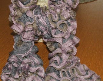 Handmade - scarf ruffle retinella tree - pink, grey and Brown