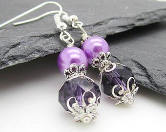 Purple Crystal Earrings, Pearl Bridesmaid Jewellery, Dark Purple Wedding, Orchid Purple Earrings, Bridesmaid Gift, Wedding Accessories