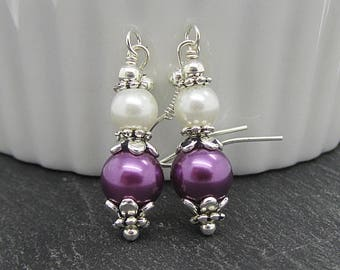 Purple and Ivory Pearl Drop Earrings, Purple Bridal Pearl Dangles, Eggplant Bridesmaid Gift Ideas, Pearl Bridal Sets, Bridal Party Gifts