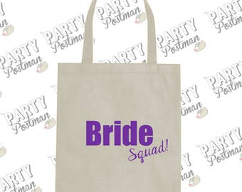 Bride Squad Purple Tote Bag in your color choice For Bridesmaid Proposal or Wedding party Gift