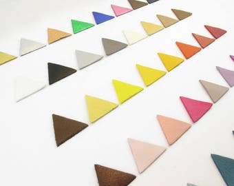 Set of 8 solid color sides 2cm leather Triangles