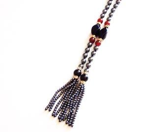 Hematite Carnelian Onyx Necklace - Long Lariat - Tassels - Vintage Jewelry - Gemstone Beads - Gemstone - 50 Inches Long