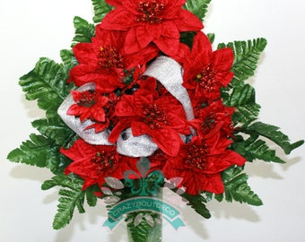Gorgeous Christmas Ponsettias Cemetery Arrangement For Mausoleum