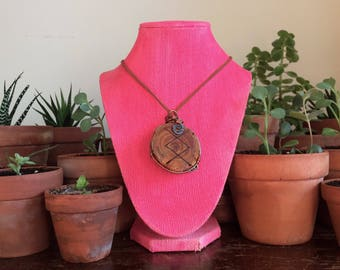 Handmade rune *collab* wire wrapped with copper wire