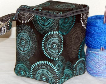 "Large zippered project yarn box, 7"" x 5.5"" sock box bag, knitting, crochet, embroidery"