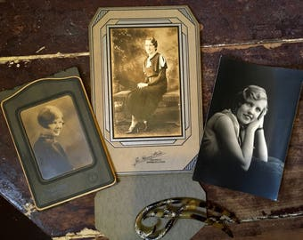 Trio of Flapper Studio Portraits 1920s to early 1930s Original Art Deco