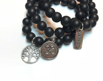 Yoga Bracelet Stacking Bracelets - Tree Of Life - Ohm - Namaste Silver Charm