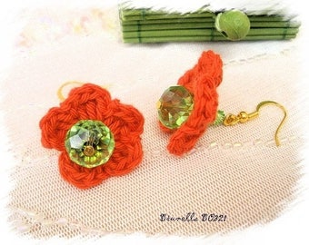 Knit orange and Green Flower Earrings * Brunella BO321 *.