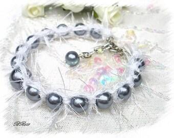braided white and grey fur BR603 shamballa bracelet