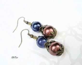 Blue and Brown Pearl Earrings * BO539