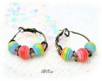 Earrings hoop earrings - summer-3 beads color - BO490