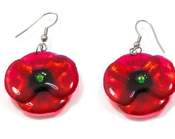 Handmade Poppy earrings. Come in a gift box