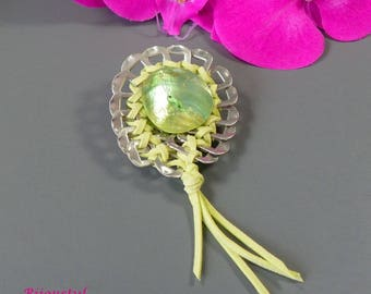 """Clip fancy cans - mother of Pearl button and lime suede """"caps"""""""