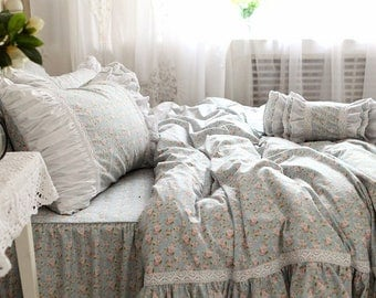 Chic Arts Rustic Cottage Cotton Blue Small Floral Plus Frills and Lace Duvet Cover Set BC012