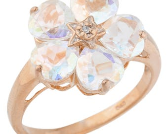 14Kt Rose Gold Plated 5 Hearts Natural Mercury Mist Mystic Topaz & Diamond Heart Flower Design Ring