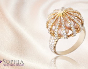 Prestigious pearl and Diamond ring, unique 14K gold ring set with white diamonds and white little pearls inside, pearls ring, Golden dome