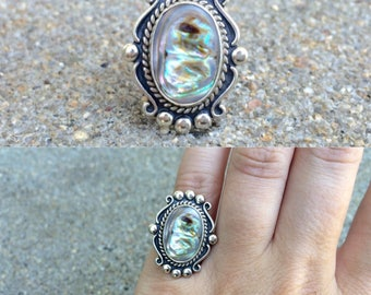 vintage Native American Bell Trading Post sterling silver abalone southwestern ring size 5.25