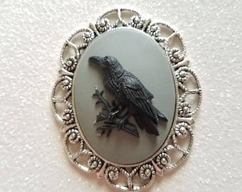Black Gothic Raven Antique Silver Brooch
