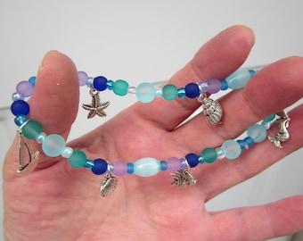 SUMMER BEACH conch, STARFISH, Mermaid, Sailboat, Angel fish charms & Sea glass bead ankle bracelet