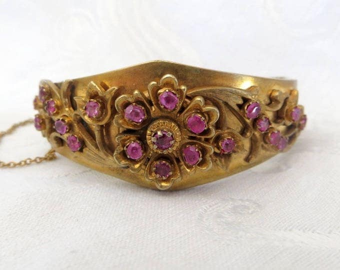 Antique Bangle Bracelet, Art Nouveau Hinged Bracelet, Layered Metalwork, Pink Rhinestones, Antique Jewelry