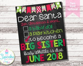 Christmas Big Sister Announcement | Christmas Pregnancy Announcement | Dear Santa Big Sister | Checklist | Chalkboard Photo Prop | Digital