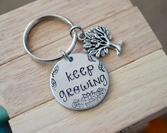 Keep Growing~Aluminum LIGHT WEIGHT~ Small 1 inch Key Chain with Tree Charm
