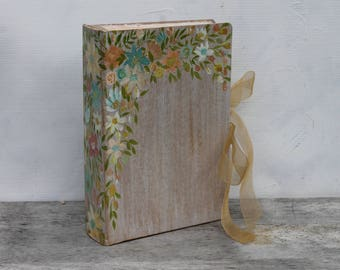 Boho floral watercolor wedding guest book   Hand painted wildflowers watercolor wedding theme sign in book  Made To Order 8.5x6 inches