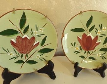"Vintage Collectible 2 Pottery Plates Magnolia Stangl 6"" CL4-3"
