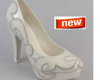 Wedding shoes, Handmade pearl / ivory wedding shoe designed specially  #8473