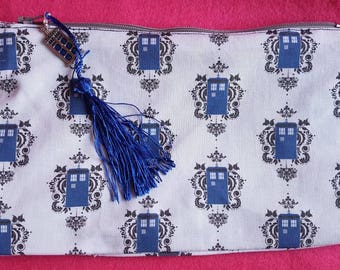 Doctor Who inspired Tardis scrolls zipped pouch