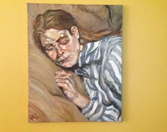 Vintage Signed Original Oil Painting Portrait on Canvas