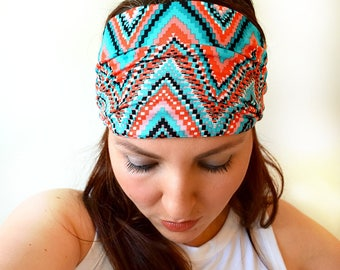 Summer Tribal Wide Headband, Boho Headwrap, Womens Hair Accessories