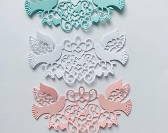 LoveBird Die Cuts Set of 8 Card Toppers Embellishments
